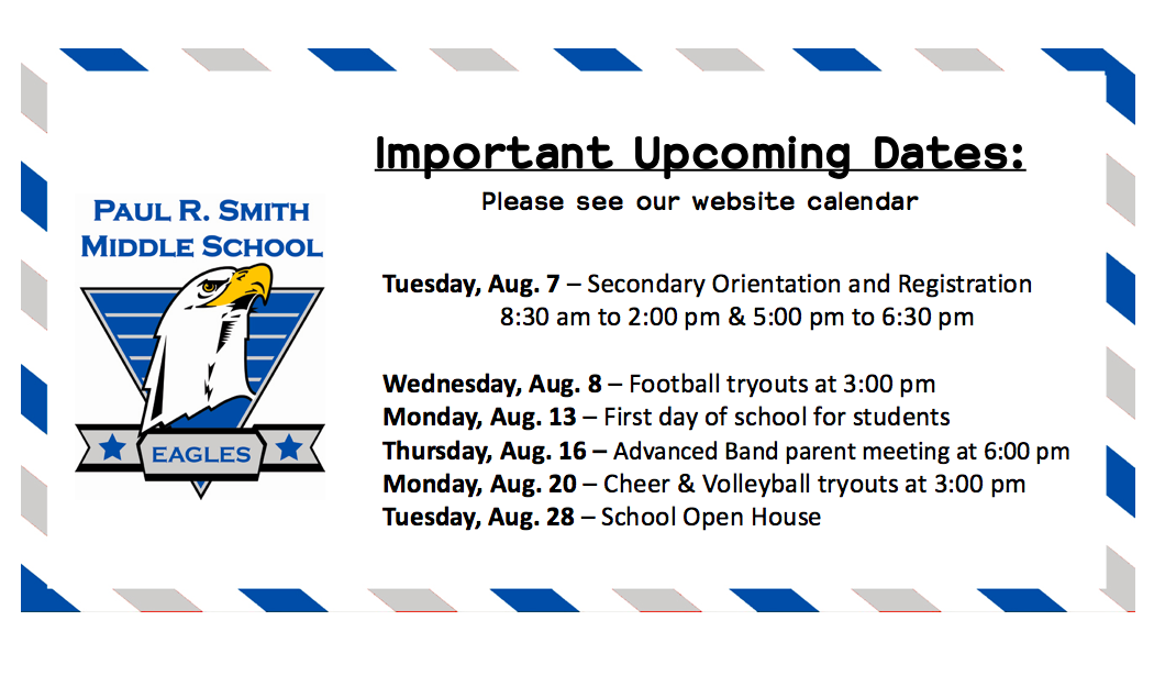 Welcome Back – Important Dates