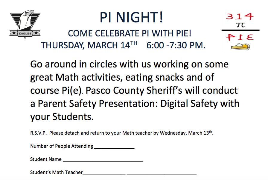 Pi Night – Parent & Student Event 3.14