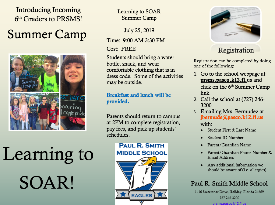 July 25th! New 6th Grade SOAR Summer Camp – Click Here