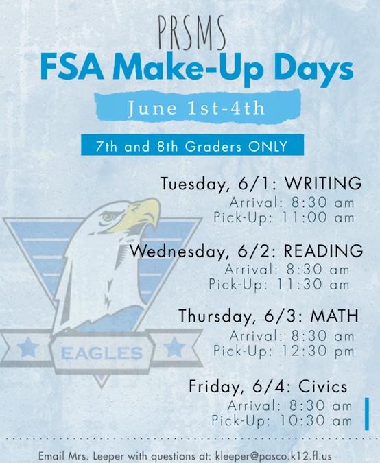 June FSA Make-Up Testing